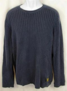 RALPH LAUREN POLO JEANS Blue Ribbed COTTON Pullover Sweater Mens EXTRA LARGE XL