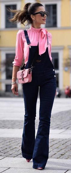 what+to+wear+with+a+denim+jumpsuit+:+pink+blouse+++pink+bag #omgoutfitideas #outfitinspiration #clothing