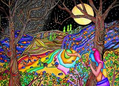 Full Moon On Psychedelic Hill by Dora Mandragora