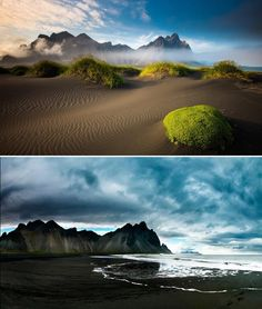 Stokksnes in summer and in autumn