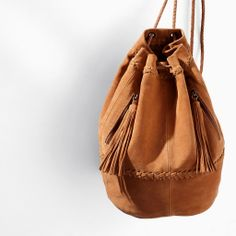 Image 1 of COMBINED LEATHER AND SUEDE BUCKET BAG from Zara