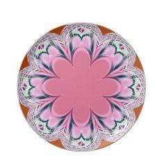 Light Pink Fractal Flower Plate