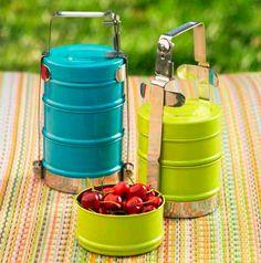 Enamel Stacked Lunch Box  #bento #lunch #lunchbox #enamel #green #aqua #clever