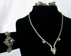 Vintage Continental Jewelry Set Necklace by NewAgainClassics Rhinestone Necklace, Sterling Silver Earrings, Vintage Jewelry, Unique Jewelry, Earring Set, Chokers, Jewelry Design, Jewels, Window Shopping