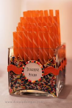 orange candy, sprinkles, candy buffets