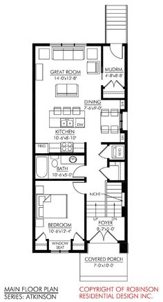 One bdrm with basement and poss loft Small Cabin Plans, Narrow Lot House Plans, Cabin Floor Plans, Garage House Plans, Dream House Plans, Apartment Plans, Basement Apartment, Modern Floor Plans, Cottage Plan