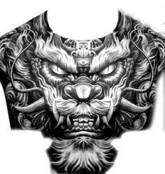 Chest Tattoo Wolf, Chest Tattoo Drawings, Full Chest Tattoos, Chest Piece Tattoos, Body Art Tattoos, Hand Tattoos, Foo Dog Tattoo Design, Skull Tattoo Design, Tattoo Sleeve Designs