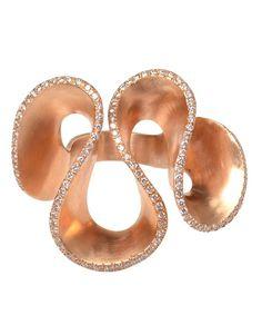 maurizio pintaldi. 18k rose gold and diamond wave ring. fantastic!