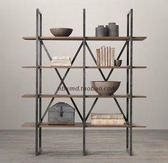 País de América para hacer el viejo estante de la tablilla de madera de hierro pantalla estantería estantería estantería de almacenamiento estante forjado