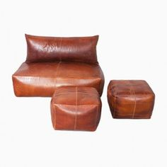 Vintage Brown Leather Sofa and Ottomans