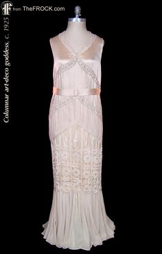 Vintage 1920s / 1930s ivory beaded silk satin and silk chiffon formal or wedding dress; art-deco grecian goddess gown. (While the garment is available, details and more photos are found on our website at www.thefrock.com )