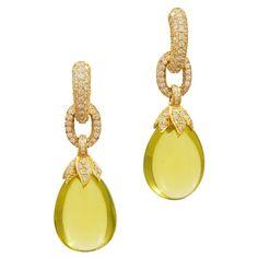 Lemon Citrine Jelly Bean Diamond Drop Earrings  Italy  modern  Lemon Citrine and Diamond Drop Earrings with 3.60 Total Weight in Diamonds