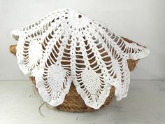 Large round handmade doily. White French by frenchvintagedream