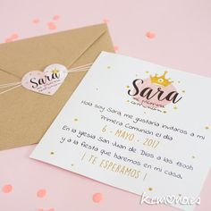 Invitación Primera Comunión. Princesa Pink Panter, Baby Shower Princess, Baptism Invitations, Ideas Para Fiestas, Fiesta Party, Illustrations And Posters, Happy Day, Communion, Party Time