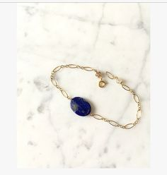 Gold filled Deep inky blue Lapis Lazuli  by LilBlueFishOfLille