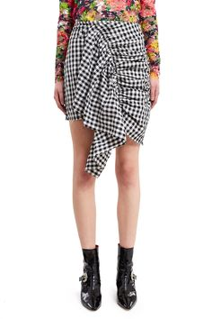 Marques'Almeida, Gingham Gathered Skirt Inspired by friends Daisy and Sofia, this mini skirt sports asymmetrical ruching down the front and a raw hem for an undone finish., Side zipper closure, Side and back pockets, Mid-thigh length, Unlined, 50% polyamide, 50% polyester, Imported