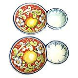 CERAMICHE DARTE PARRINI  Italian Ceramic Pottery 2 Appetizer for Olives and Puts Decorated Lemons Hand Painted Made in ITALY Tuscan Reviews