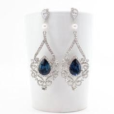 Bridal Statement Earrings, Blue Swarovski Crystal Earrings Long,  Beach Wedding