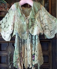 Rare stunning Magnolia Pearl Antique Crochet Pieced Cropped Jacket  #MagnoliaPearl #cropped