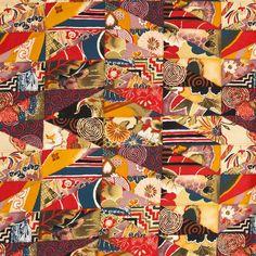 2003 ALEXANDER HENRY KIMONO PATCH FABRIC MATERIAL ASIAN JAPANESE 1.7 YARDS CRAFTS Decorator Ebay SALE! $16.96