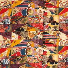 2003 ALEXANDER HENRY KIMONO PATCH FABRIC MATERIAL ASIAN JAPANESE 1.7 YARDS CRAFTS Decorator Now on SALE!