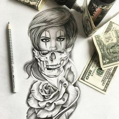 Skull Girl Tattoo, Girl Face Tattoo, Clown Tattoo, Skull Tattoos, Rose Tattoos, Leg Tattoos, Body Art Tattoos, Girl Tattoos, Sleeve Tattoos