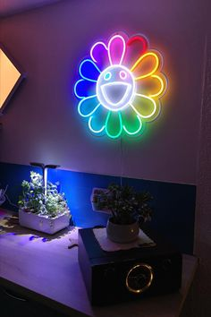 """""""Flower"""" is the must-have neon sign for all fans of Takashi Murakami, the famous Japanese contemporary artist. SIZES: 15 x 15'' (39 x 39 cm)* 20 x 20'' (50 x 50 cm) 24 x 24'' (60 x 60 cm) Teenage Girl Bedrooms, Girls Bedroom, Bedroom Ideas, Custom Neon Signs, Led Neon Signs, Hypebeast Brands, Murakami Flower, Cactus Jack, Takashi Murakami"""