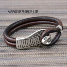 Easy DIY Snake Clasp Leather Bracelet Tutorial  |  Happy Hour Projects