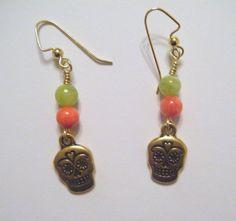 Gold sugar skull earrings with jade beads