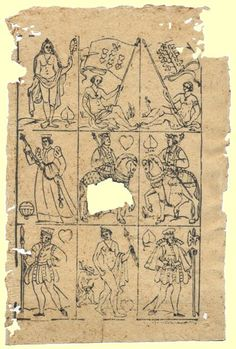 Uncut German playing cards used for bookbinding reinforcement, c 1580