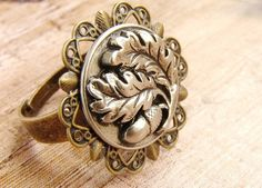 Acorn and Oak Leaf ring, adjustable oak tree acorn ring, metal ring