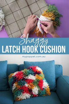 Make this shaggy cushion cover with scrap yarn and a latch hook. Shaggy cushions, pillow covers and rugs are really trendy right now. Interior stylists call it 'texture', I call it fun! It's a throwback to the 70's where shag was all the rage.