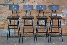 Reclaimed Urban  Bar Stools Set Of (4) with Steel Backs -Modern Salvaged Barn wood Fast Shipping