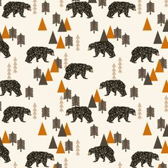This stunning fabric from designer Andrea Lauren has beautiful constellation-like bears in black and white in a forest of orange, tan and taupe bro...