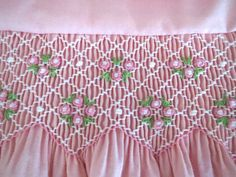 Lovely Light Pink and White Hand Smocked by AnnetteGraceDesigns