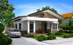 Elvira model is a small house plan with porch roofed by a concrete deck canopy and supported by two square columns.This house plan has an open garage that can accommodate 2 cars.
