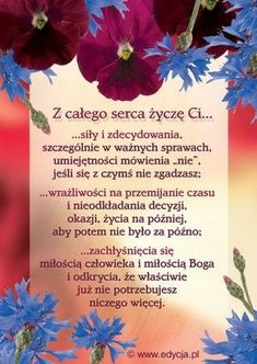 Życzę Ci Birthday Wishes, Happy Birthday, Powerful Words, Motto, Self Love, Texts, Psychology, Diy And Crafts, Humor