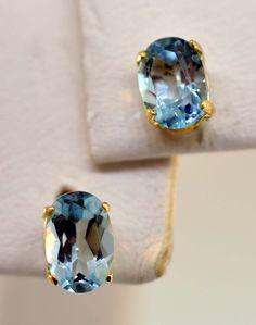 Blue Topaz earrings in 10k Gold setting