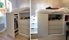 diy loft beds for small rooms - diy loft bed _ diy loft bed for kids _ diy loft bed for adults _ diy loft beds for small rooms _ diy loft bed plans _ diy loft bed with desk _ diy loft bed for kids how to build _ diy loft bed for kids small room Ikea Small Bedroom, Loft Beds For Small Rooms, Space Saving Bedroom, Bed For Girls Room, Cabin Bed With Storage, Bed Storage, Small Room Design, Home Room Design, Bed With Wardrobe