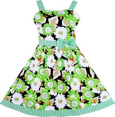 Girls Dress Sleeveless Flower Pattern Bow Tie Striped Trim Size 9-10 #SunnyFashion #Everyday