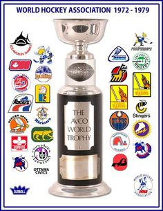 All the teams that competed for the Avco Cup: Flyers Hockey, Hockey Logos, Pro Hockey, Nhl Logos, Sports Team Logos, Hockey Games, Hockey Stuff, Montreal Canadiens, Hockey Trophies