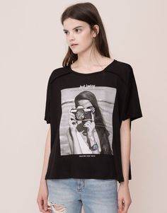 Pull&Bear - woman - t-shirts and tops - short sleeve printed t-shirt - black - 09238395-I2015