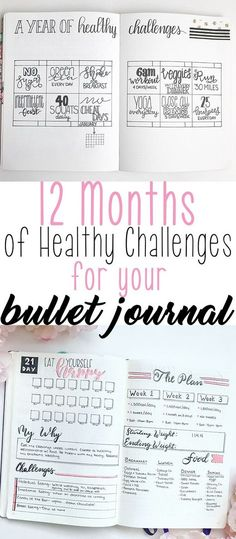 12 Months of HealthyChallenges to Add Into Your Bullet Journal # Fitness journal 12 Months of Healthy Challenges for Your Bullet Journal - The Petite Planner Bullet Journal Tracker, Bullet Journal Health, Digital Bullet Journal, How To Bullet Journal, Bullet Journal Spread, Bullet Journals, Bullet Journal How To Start A Layout, Bullet Journal Goals Page, Bullet Journal Reading List