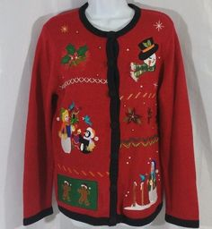 Ugly Christmas Sweater Large Cardigan Holiday Snowman Penguin Gingerbread Red  #Holidayedition #Cardigan