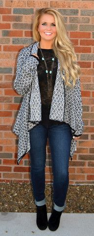 BLACK N' WHITE & FAB ALL OVER CARDIGAN $42.99