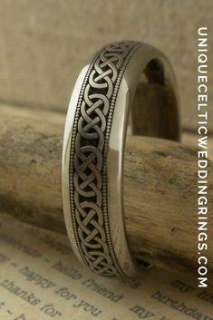 Celtic Wedding Ring in Titanium with Milgrain — Unique Celtic Wedding Rings Irish Wedding Rings, Celtic Wedding Bands, Wedding Ring For Her, Titanium Wedding Rings, Titanium Rings, Wedding Ring Bands, Celtic Designs, Rings For Men, Unique