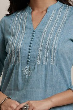 womens tops and blouses Best Picture For clothes for women professional For Your Taste You are looking for something, and it is going to tell you exactly what you are looking for, and y Kurti Embroidery Design, Embroidery Neck Designs, Embroidery On Kurtis, Hand Embroidery Dress, Creative Embroidery, Simple Kurta Designs, New Kurti Designs, Kurta Designs Women, Kurti Designs Party Wear