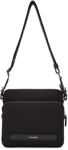 DOLCE & GABBANA Black Canvas & Leather Messenger Bag. #dolcegabbana #bags #shoulder bags #leather #canvas #lining #