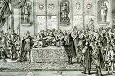 Signature de l'édit de Nantes par le roi Henri IV le 13 avril 1598 (gravure).
