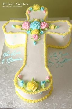 Pretty yellow baptism cake